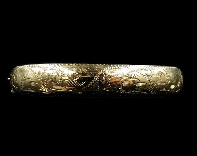 Antique Engraved Floral Fancy 9ct Rolled Gold Bangle Bracelet | Vintage