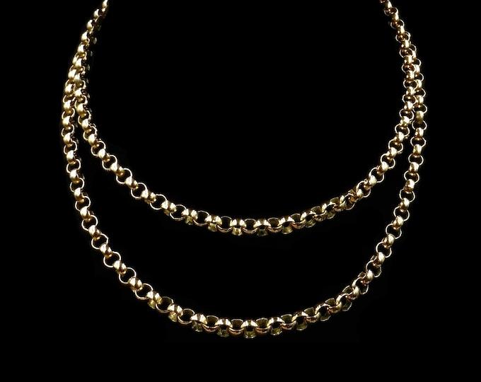 "Antique Vintage Long Gold Gilded Belcher Chain Necklace   28"""