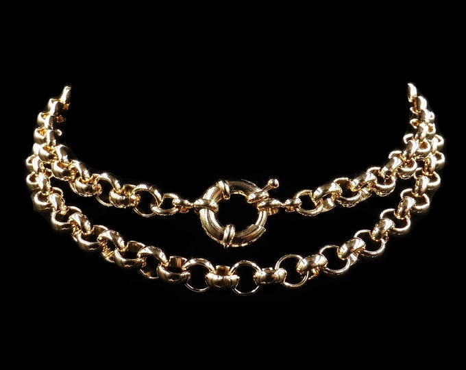 """9ct 9K Yellow Gold Filled Belcher Chain Necklace with Bolt Ring 