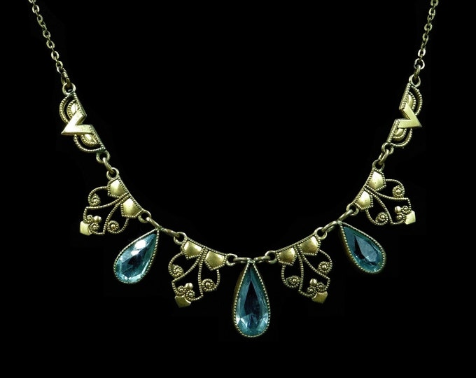 Art Deco Blue Paste Gold Fill Fancy Filigree Riviere Drop Necklace | 17"