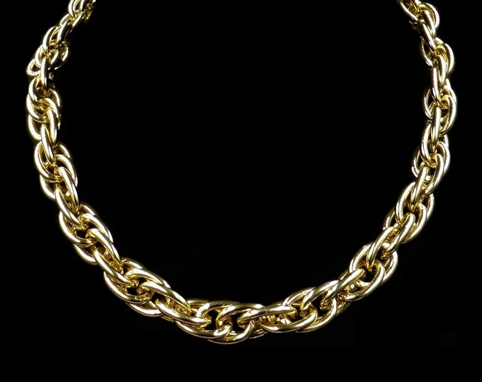 Vintage Long Statement Fancy Chain Yellow Gold Gilded Necklace | Antique Style | 27""