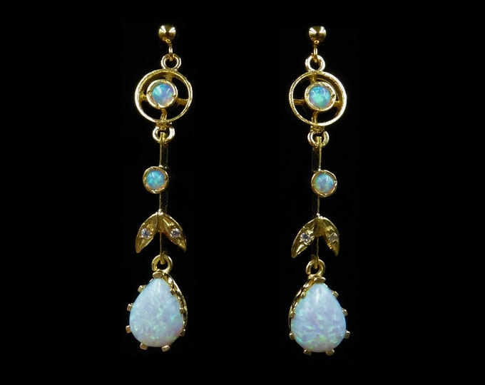 Opal Drop 18ct Gold Gilded Long Dangle Earrings   Antique Victorian Style