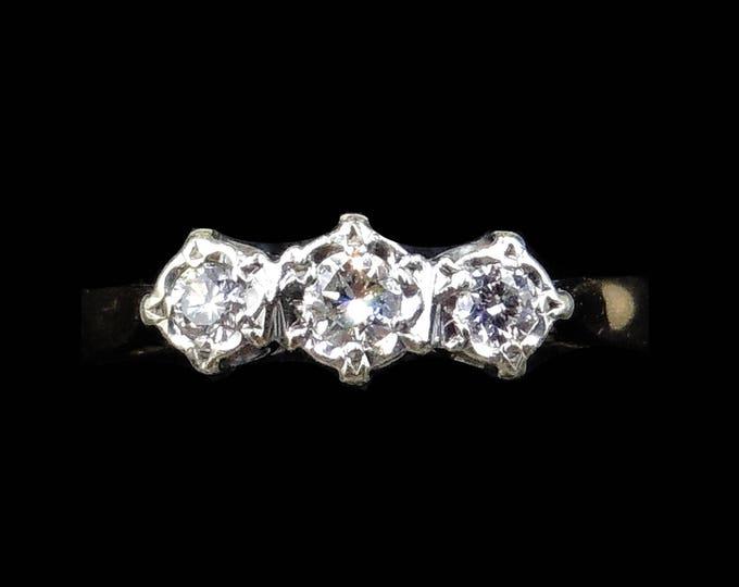 Vintage Diamond Three Stone Trilogy 9ct 9K Yellow Gold Ring   Engagement