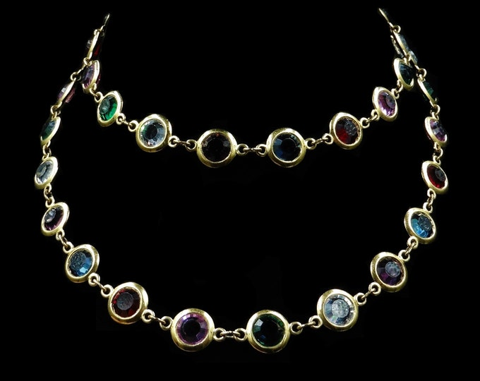 Vintage Harlequin Paste Multi-Gem Bezel Gold Long Chain Necklace | Art Deco | 28""
