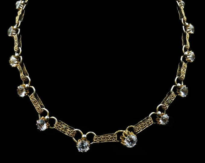 Antique Victorian Old Cut Paste Fancy Rolled Gold Short Riviere Necklace | Circa.1890 | 16""