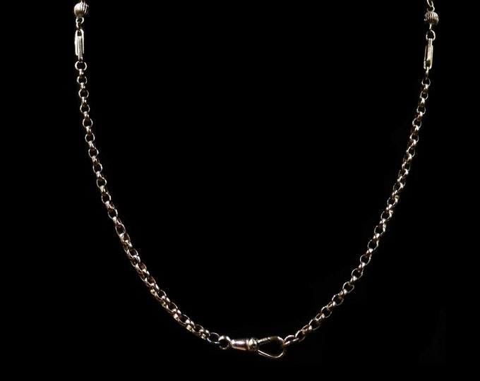"Antique Victorian Fancy Ball 18ct Gold Filled Short Belcher Chain Necklace | 18"" with Dog Clip"