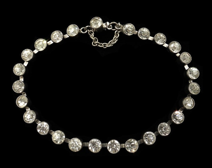 Antique Clear Paste Bezel Set Silver Bracelet | Victorian Edwardian C.1900 | 7""