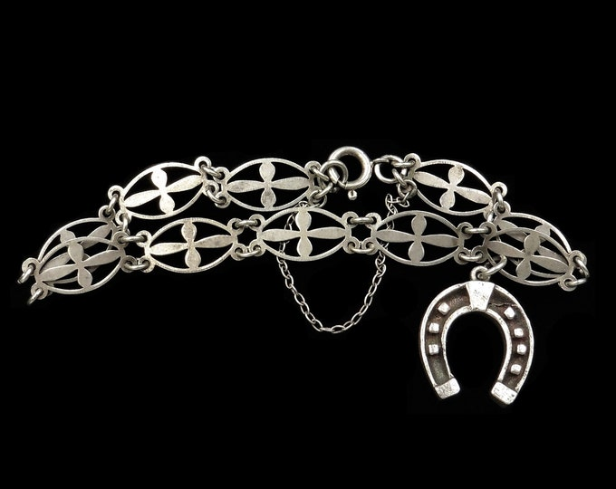 Antique Lucky Horse Shoe Sterling Silver Fancy Bracelet | Circa.1900