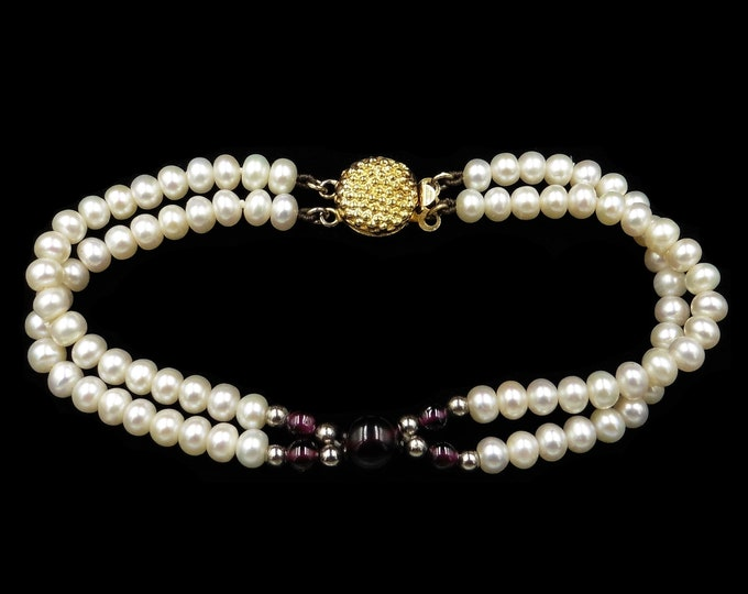 Vintage Cultured Pearl and Garnet Double Strand Bracelet | 7"