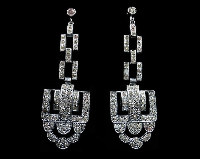 Art Deco Paste Silver Long Drop Dangle Chandelier Earrings | Antique Vintage