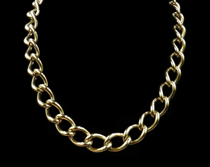 Vintage Statement Curb Chain Yellow Gold Gilded Necklace | Antique Style | 18""
