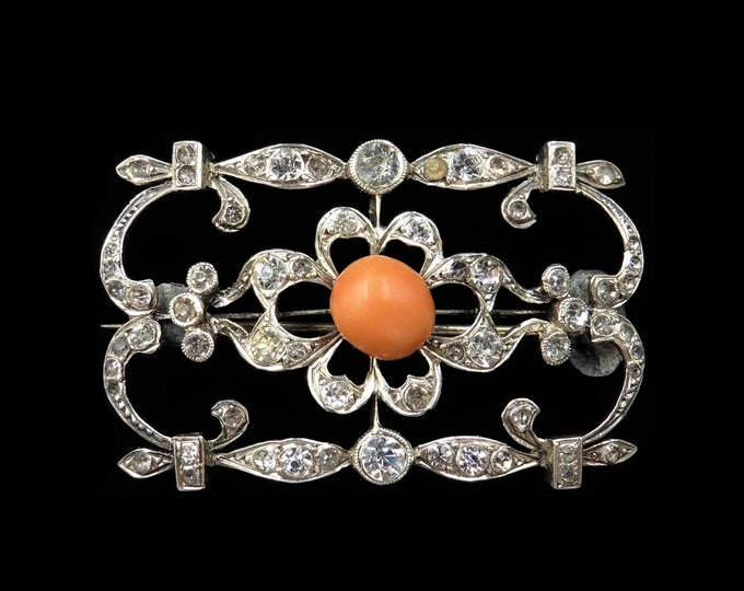 Antique Coral and Paste Sterling Silver Oblong Brooch Pin | Art Deco Edwardian c.1915