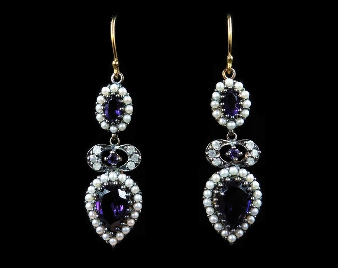 Amethyst Diamond and Pearl 18ct Yellow Gold and Silver Drop Earrings | Antique Style