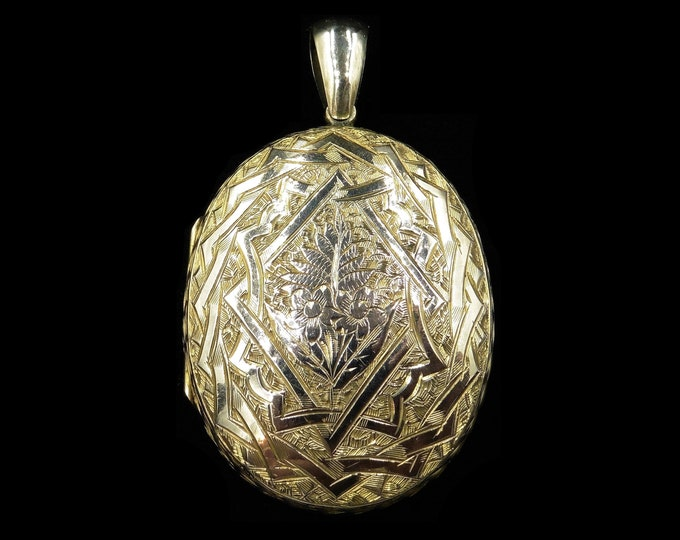 Antique Victorian Large Rolled Gold Double Sided Engraved Oval Photo Locket Pendant | Circa. 1890