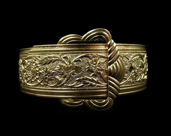 Vintage Buckle Engraved Fancy Rolled Gold Bangle Bracelet   Art Deco c.1930