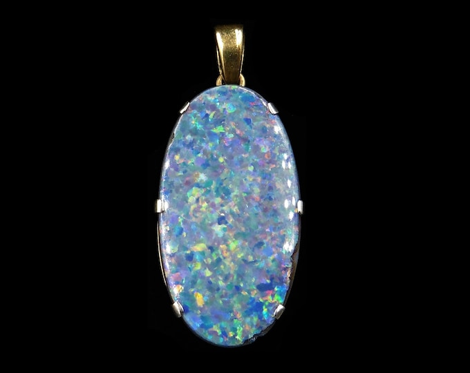 Vintage Black Opal Doublet Oval Drop 9ct 9K Yellow Gold Pendant