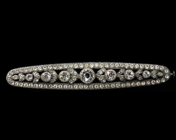 Art Deco Old Cut Paste Silver Large Oblong Fancy Bar Brooch Pin   Antique