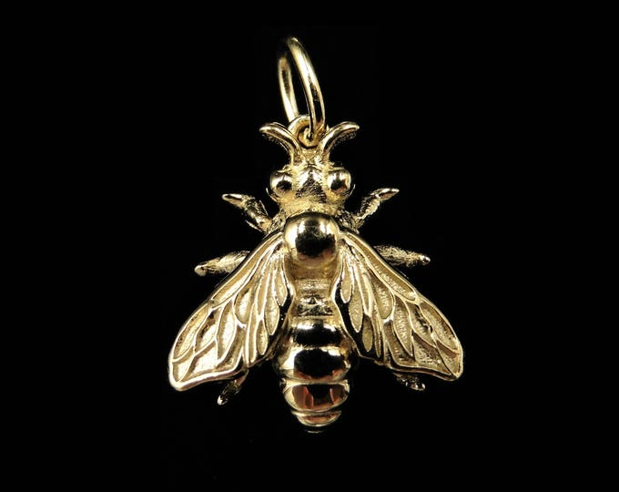18ct Yellow Gold Gilded Honey Bee Insect Bug Drop Pendant | Antique Victorian Style