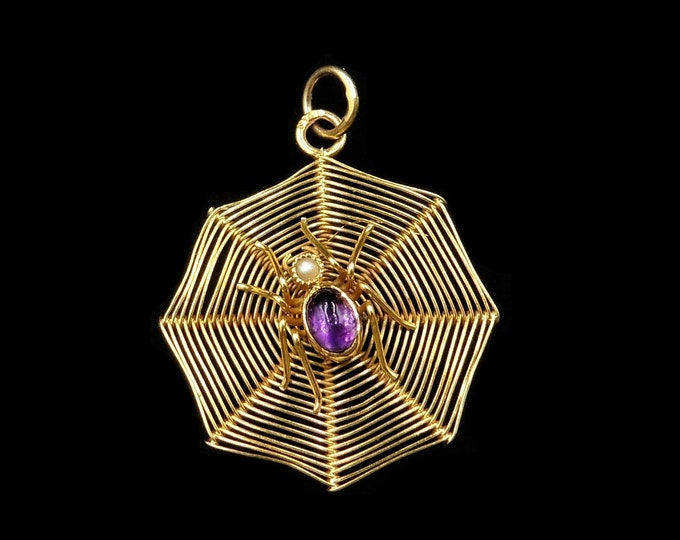 Antique Amethyst and Pearl 9ct Gold Spider and Spiders Web Pendant | Circa.1900