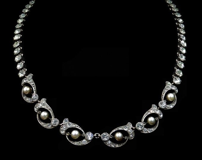 Antique Victorian Pearl and Paste Gold on Silver Riviere Necklace Collar | Circa.1880
