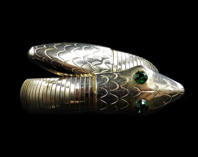 Art Deco Snake Serpent Green Eyes Rolled Gold Wrap Around Bangle Bracelet | Antique Circa.1930