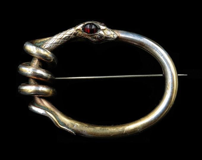 Antique Victorian Cabochon Garnet Coiled Snake Serpent Gold Gilt Large Oval Brooch | Circa.1880
