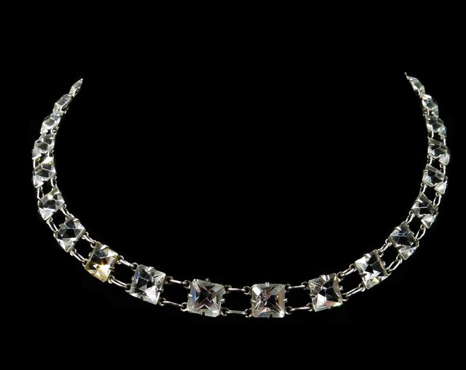 Art Deco Princess Cut Paste Sterling Silver Riviere Short Necklace | Antique Circa. 1920 | 14-16""