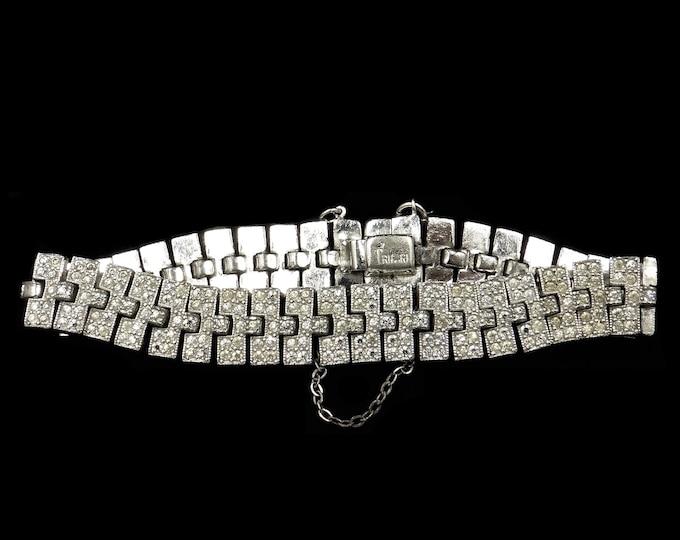 Art Deco Trifari Rhinestone Silver Plate Fancy Link Fine Bracelet   Vintage C.1930