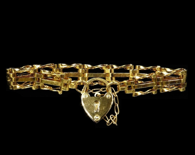 Vintage Heart Padlock Gate 18ct 18K Gold Plated Bracelet | Antique Victorian Style