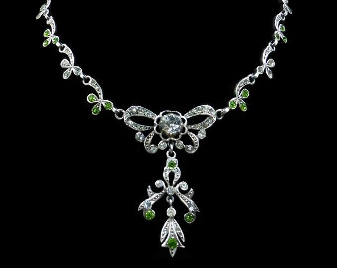 Antique Victorian Green Peridot Paste Sterling Silver Bow Drop Pendant Necklace Collar Choker | Circa.1880
