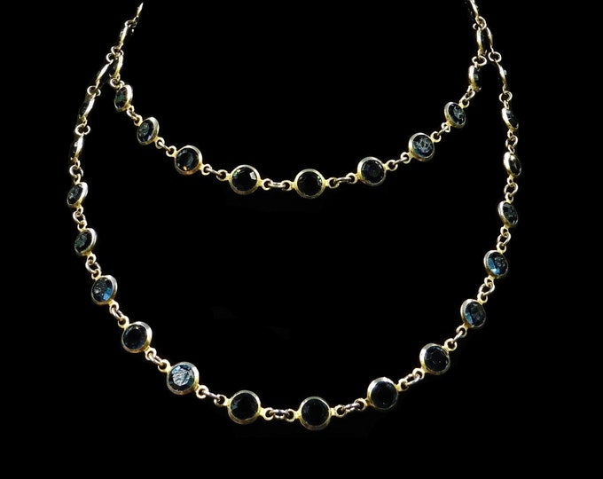Vintage Blue Sapphire Paste Rolled Gold Long Guard Chain Necklace | Art Deco Circa.1930 | 28""