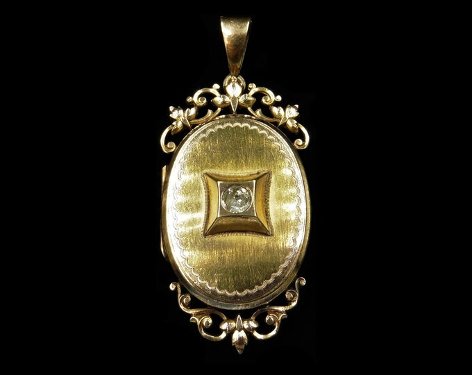 Antique Victorian Paste Rolled Gold Oval Fancy Photo Locket Pendant | Circa.1890