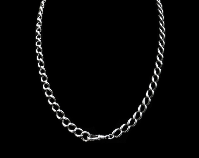 """Antique Sterling Silver Curb Watch Chain Necklace with Dog Clip 