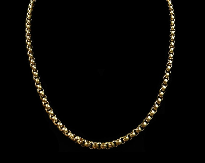 """Antique Victorian Short Rolled Gold Belcher Chain Necklace with Bolt Ring 