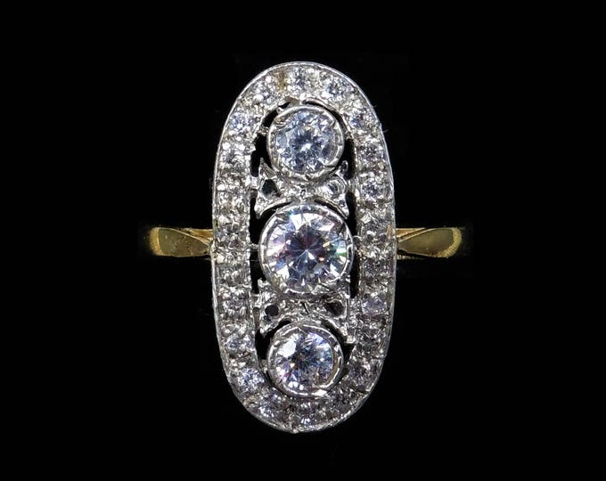 Oval Marquise Navette Paste Trilogy 18ct Gold Gilded Silver Ring | Art Deco Style