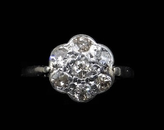 Antique Victorian Diamond 18ct Gold and Platinum Daisy Flower Cluster Ring | Engagement Eternity | 0.35ct of Diamonds 0.35 Carat 0.35ctw