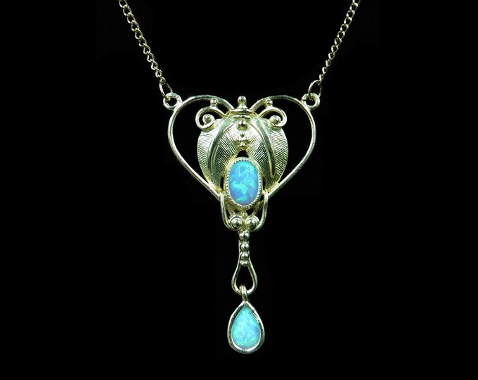 Opal Lavalier 18ct Yellow Gold Gilded Silver Pendant and Chain Necklace | Antique Art Nouveau Style