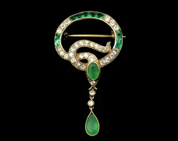 Antique Victorian Emerald Green Paste Snake Serpent 18ct Gold Gilded Silver Brooch with Drop | Circa. 1880