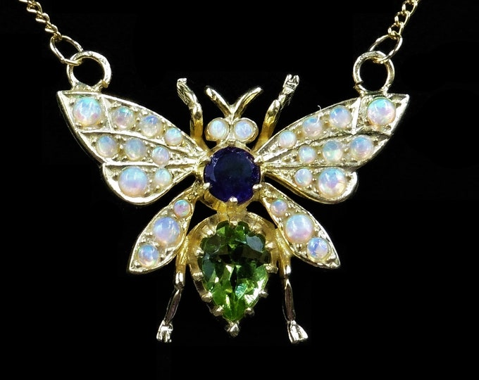 Amethyst Peridot and Opal Butterfly Insect 18ct Gold Gilded Pendant and Chain Necklace | Suffragette Colours