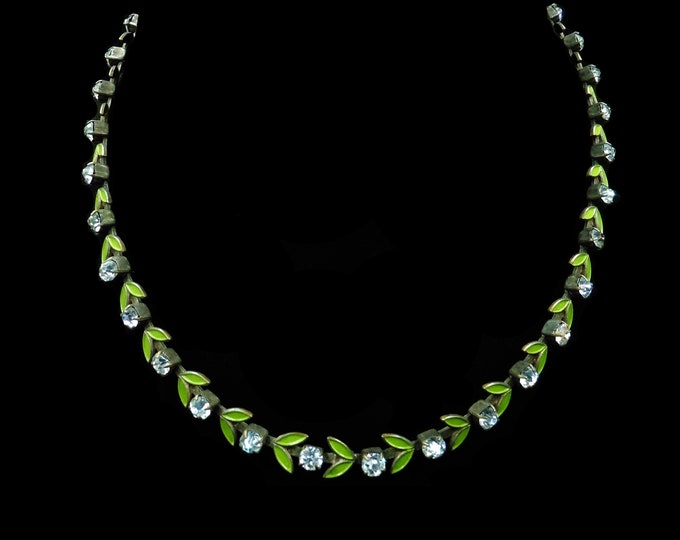 """Art Deco Paste and Green Enamel Leaf Short Riviere Necklace Choker 