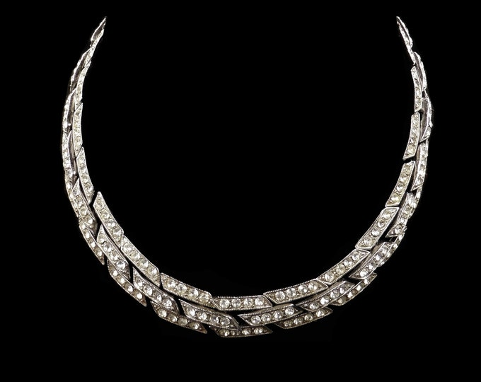 Art Deco Old Cut Paste Silver Chrome Short Riviere Necklace Choker | Circa.1920 | 14""