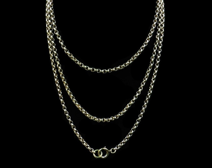 """Antique Victorian Long Belcher Guard Muff Chain Necklace 