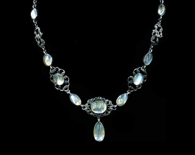 Antique Moonstone Blue Sapphire and Marcasite Sterling Silver Drop Riviere Necklace | Arts and Crafts Movement | c.1890