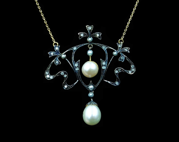 Diamond and Pearl Lavalier 9ct Yellow Gold Pendant and Chain Necklace | Antique Edwardian Style