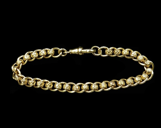 Vintage Rollerball Gold on Sterling Silver Fancy Bracelet with Dog Clip | Antique Style