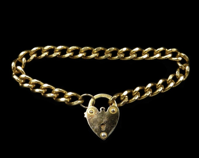 Antique Heart Padlock Curb Link Rolled Gold Bracelet | Victorian Vintage