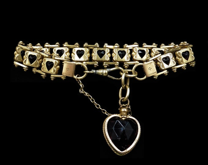 Antique Victorian Purple Amethyst Paste Heart Fancy Gate Bracelet | C.1890