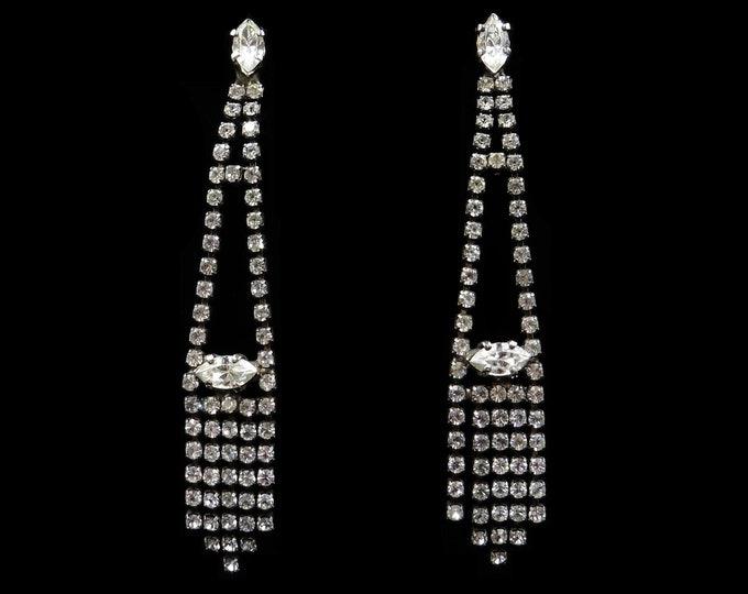 Vintage Sparkling Rhinestone Silver Long Drop Dangle Chandelier Earrings   Art Deco Style