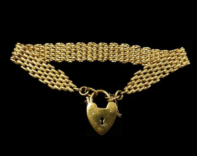 Antique Victorian Heart Padlock Fancy Gate 18ct 18K Rolled Gold Bracelet | Circa.1890
