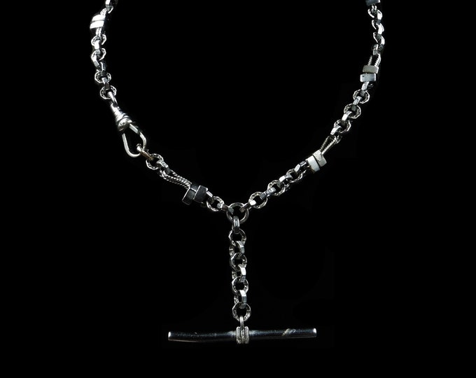 """Antique Victorian Fancy Silver Albert Watch Chain with T-Bar 